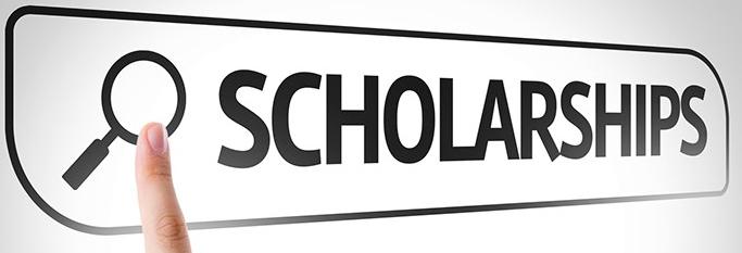 Scholarships written in search bar on virtual screen